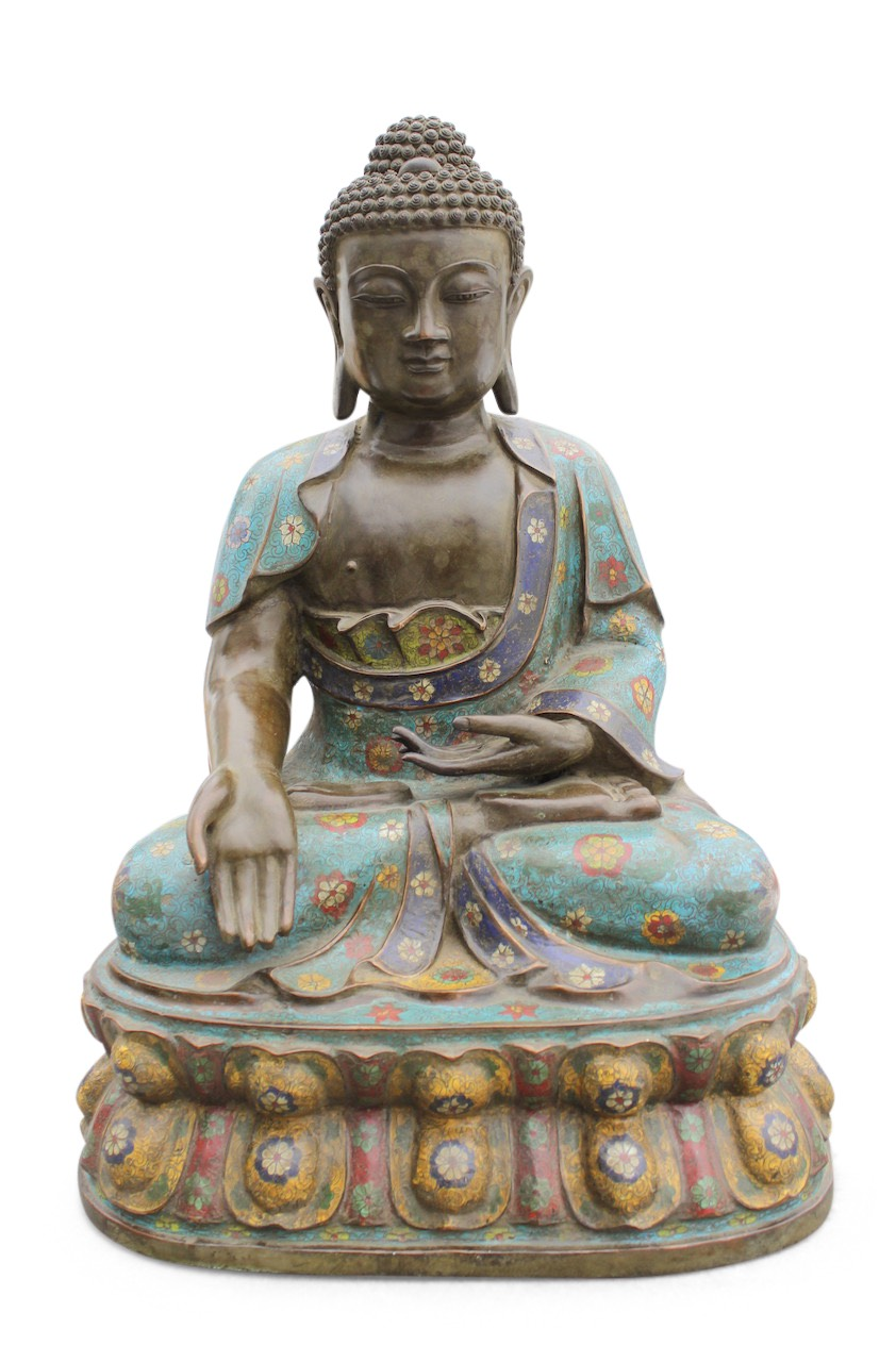 gro er buddha sitzend figur bronze buddah statue tibet budda skulptur cloisonne ebay. Black Bedroom Furniture Sets. Home Design Ideas