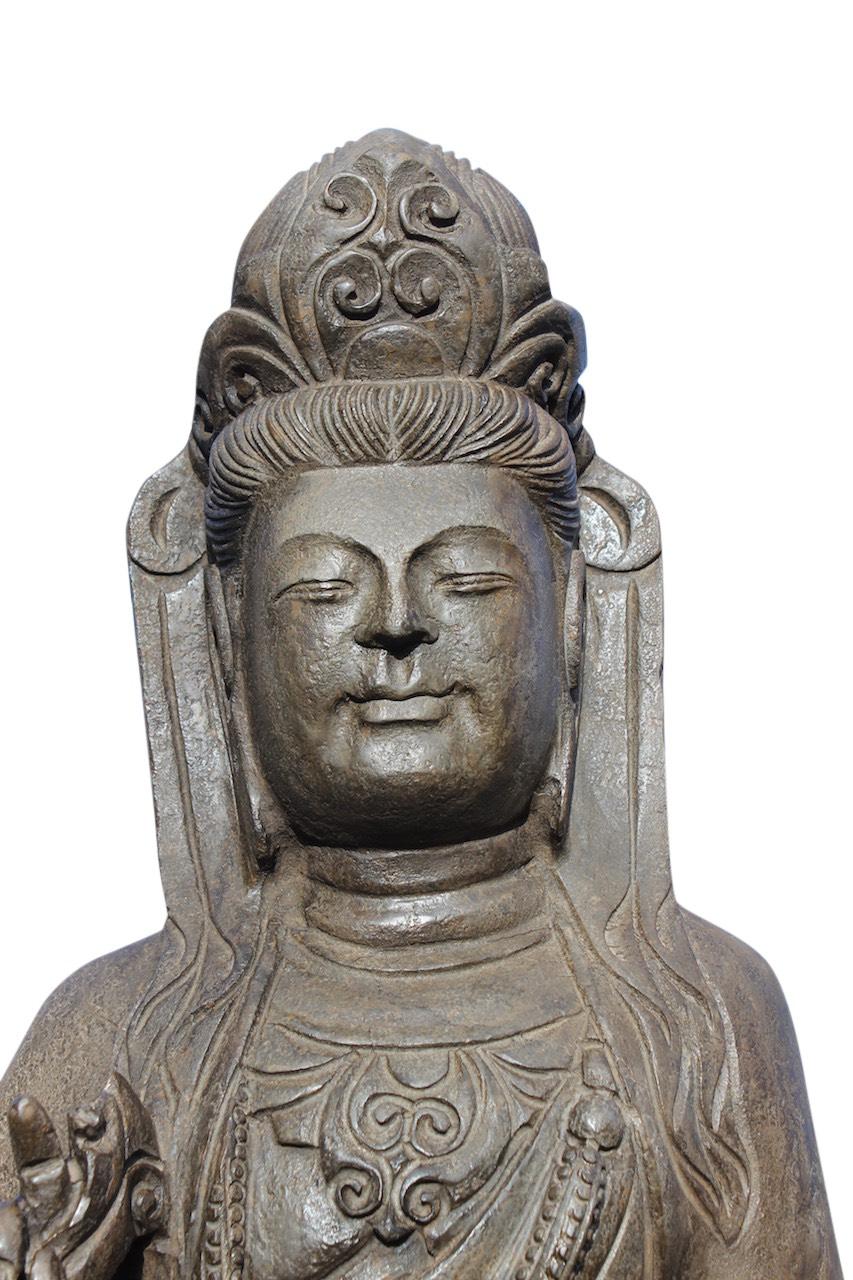 Kwan yin buddha figur natur stein statue guanyin skulptur for Figur buddha