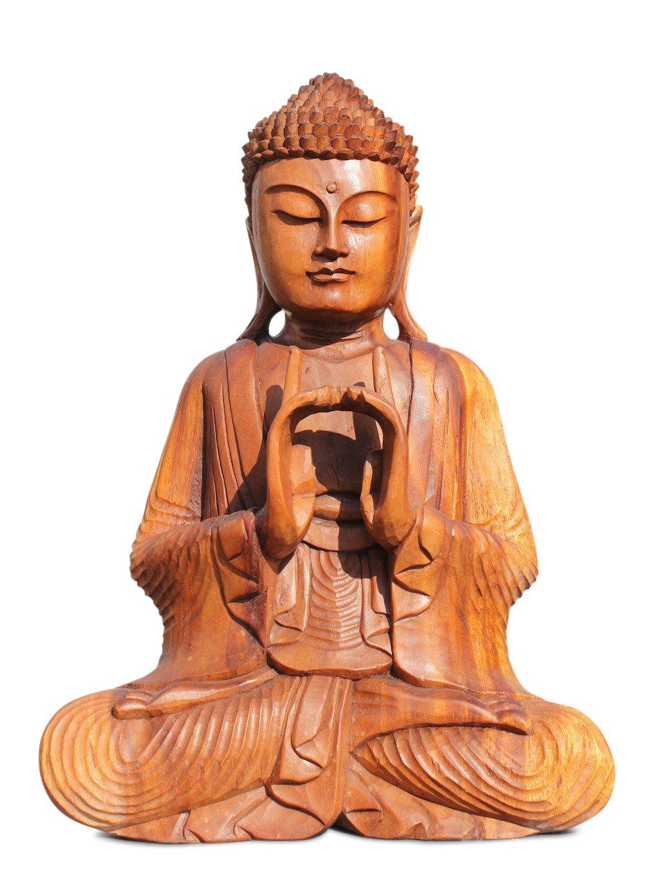 yoga buddha figur holz buddhafigur statue asia skulptur holzfigur asienlifestyle ebay. Black Bedroom Furniture Sets. Home Design Ideas