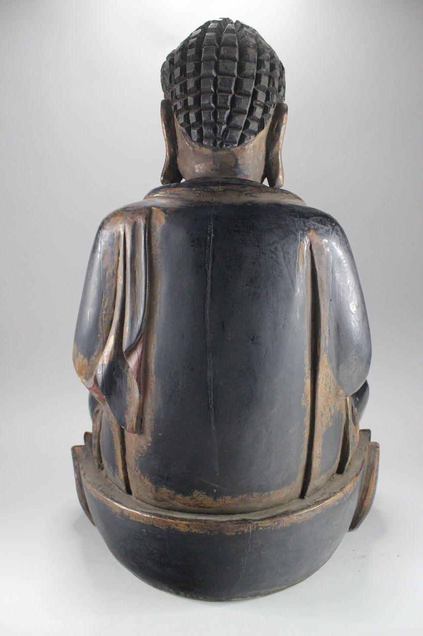 big buddha figurine wooden buddha statue china asia sculpture asia lifestyle ebay. Black Bedroom Furniture Sets. Home Design Ideas