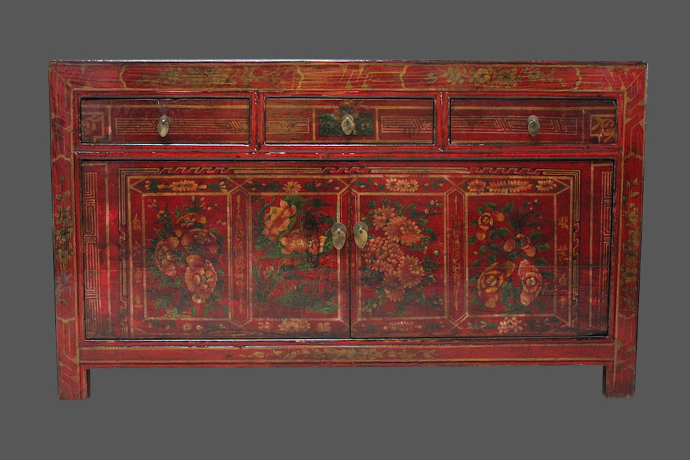 chinesische kommode m bel china schr nkchen asiatisches sideboard bunt bemalt ebay. Black Bedroom Furniture Sets. Home Design Ideas