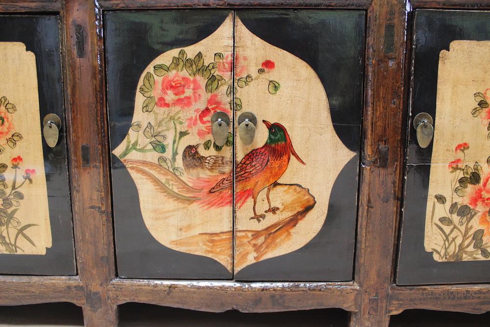 Chinesische Kommode, Möbel China Schränkchen, asiatisches Sideboard bunt bemalt  eBay