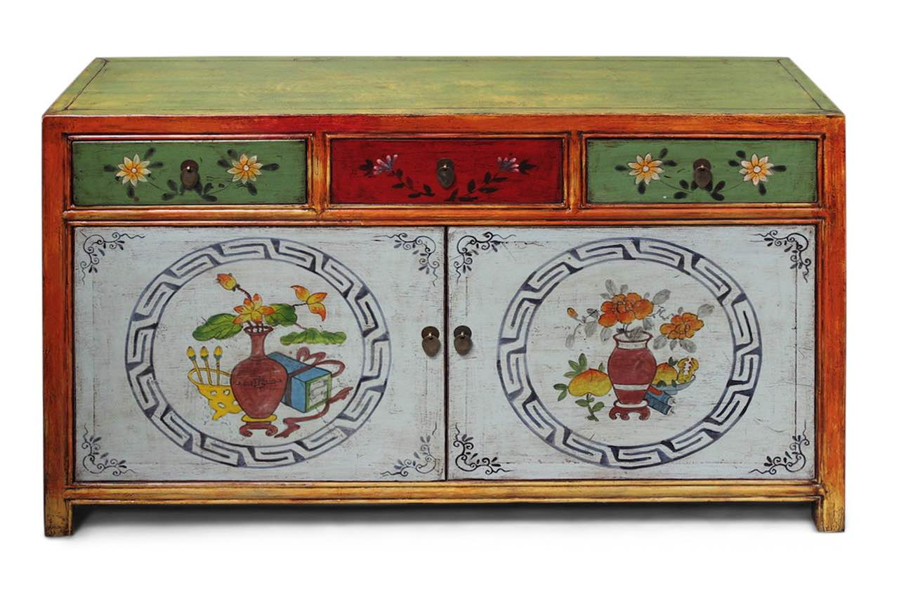 Chinesisches Sideboard Asia Kommode China Mobel Bemalt Restauriert