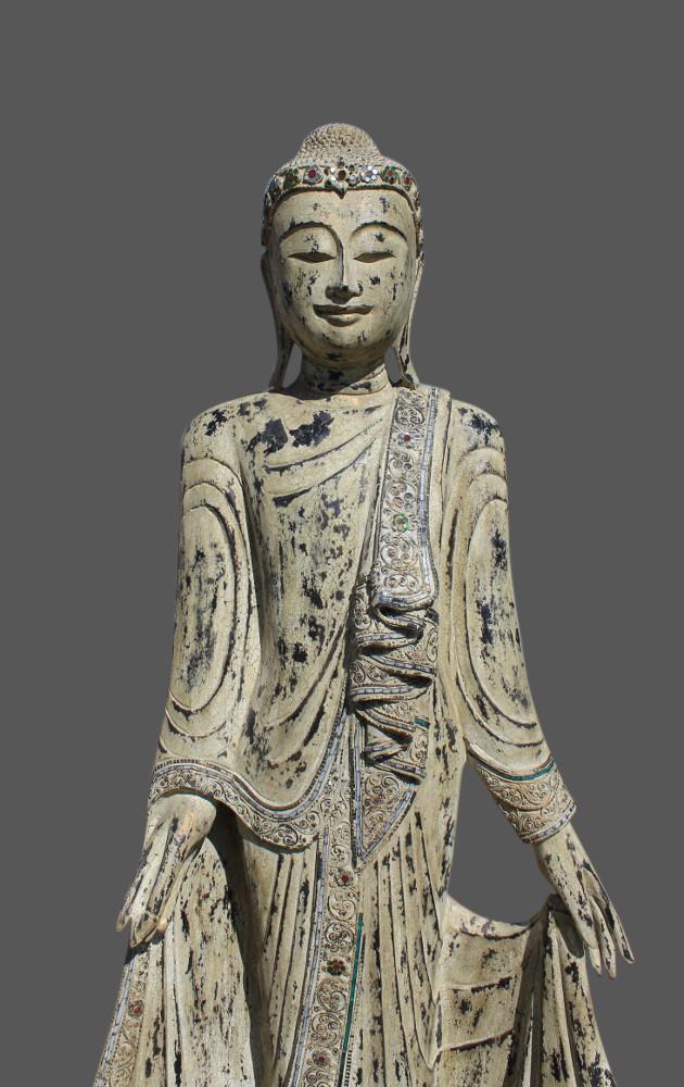mandalay debout statue de bouddha sculpt e en bois buddha tha lande birmanie ebay. Black Bedroom Furniture Sets. Home Design Ideas