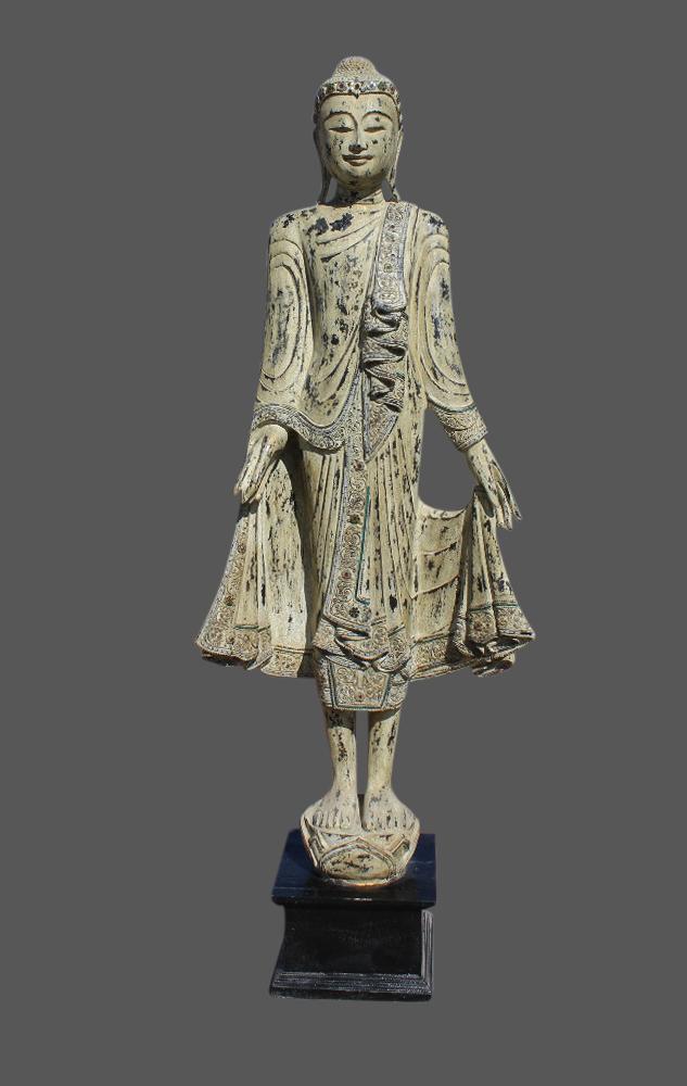 Stehender mandalay buddha statue aus holz geschnitzt 175 for Buddha statue holz