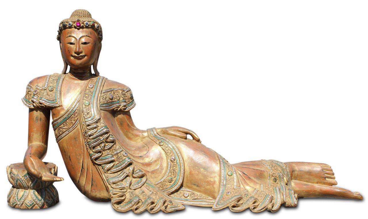 136cm nirvana buddha figur thailand holz budda statue liegend asienlifestyle ebay. Black Bedroom Furniture Sets. Home Design Ideas