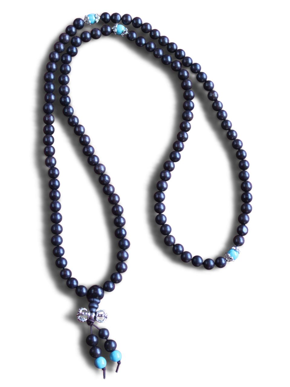 Buddhistische Mala Gebetskette Halskette Ebenholz Türkis Perlen Koi Fisch Kette